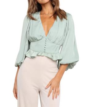 R.Vivimos Women's Fall Long Sleeves V-Neck Buttons Ruffles Casual Boho Crop Blouses