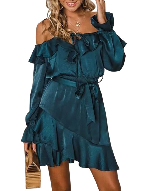 R.Vivimos Women's Satin Dress Fall Long Sleeves Off-Shoulder Ruffled Casual Mini Dress with Belt