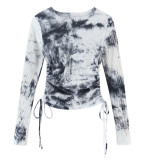 R.Vivimos Women's Fall Cotton Basic Long Sleeves Tie Dye Ribbed Knit Crop Top Tee Shirt