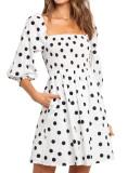R.Vivimos Women's Summer Cotton Puff Sleeves Empire Waist Casual Polka Dots Mini Dress with Pockets