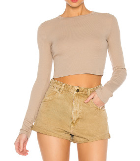 R.Vivimos Women's Fall Cotton Long Sleeves Casual Slim Ribbed Knit Sweater Crop Top T-Shirt