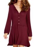 R.Vivimos Women's Fall Cotton Long Sleeves Casual Button Down Knit Swing Flare Mini Tunic Dress