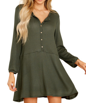 R.Vivimos Women's Fall Cotton Long Sleeves Casual Button Down Knit Swing Flare Mini Tunic Dress