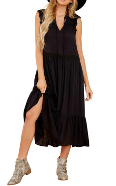 R.Vivimos Womens Summer Cotton Sleeveless Casual Boho V-Neck Ruffles Flowy Midi Dresses