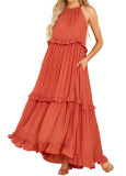 R.Vivimos Womens Summer Dress Cotton Sleeveless Halter Layered Ruffles Casual Boho Flowy Maxi Dress