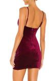 R.Vivimos Womens Velvet Ruched V Neck Spaghetti Straps Sleeveless Bodycon Mini Dress