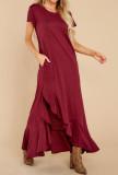 R.Vivimos Womens Summer Cotton Short Sleeves Casual Split Beach T Shirt Maxi Dress with Pockets