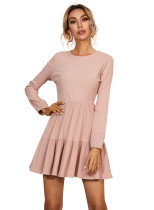 R.Vivimos Women's Fall Winter Cotton Long Sleeves Ruffle Casual Knit Sweater Swing Flare Mini Dress