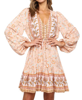 R.Vivimos Women's Cotton Long Sleeves V-Neck Button Up Floral Print Bohemian Flowy Mini Dress