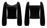 R.Vivimos Women's Fall Velvet Long Sleeves Square Neckline Casual Vintage Crop Tops Blouse