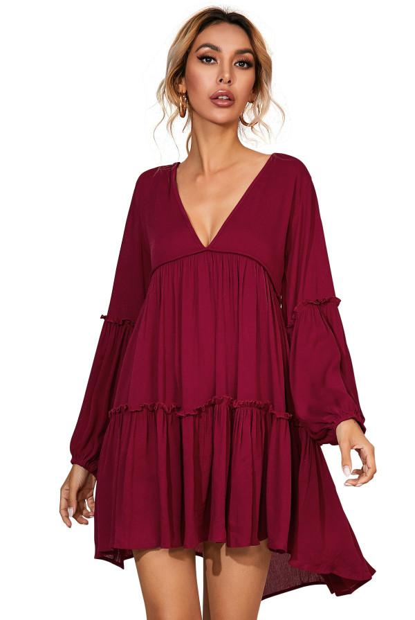 R.Vivimos Women's Long Sleeve Cotton Ruffles Deep V Neck Backless Casual Swing Mini Dresses