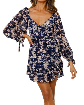 R.Vivimos Womens Long Sleeve Chiffon Floral Print V-Neck Ruffle Mini Dress with Belt