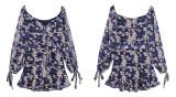 R.Vivimos Womens Long Sleeve Chiffon Floral Print V-Neck Ruffle Mini Dress with Belt