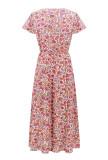 R.Vivimos Women's Summer Short Sleeve Floral Print V Neck Wrap Midi Dress with Slit