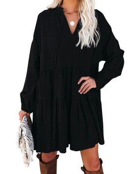 R.Vivimos Womens Fall Cotton Long Sleeve Casual Loose V-Neck Swing Tunic Mini Dress