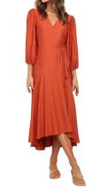 R.Vivimos Women's Satin Dress Long Sleeve V-Neck Casual Ruffle Flare Flowy Midi Wrap Dress