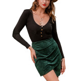 R.Vivimos Womens Casual Faux Suede High Waist Ruched Asymmetrical Hem Short Mini Skirt
