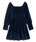 R.Vivimos Womens Winter Long Sleeves Velvet Square Neckline Casual Swing Mini Dresses
