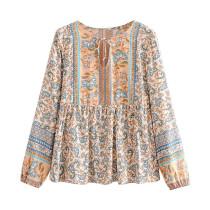 R.Vivimos Womens Summer Long Sleeves Cotton Casual Boho Floral Print Peasant Blouses Tops