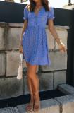 R.Vivimos Womens Summer Cotton Floral Print Boho V-Neck Button Down Mini Dresses