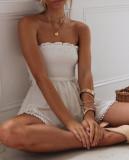 R.Vivimos Women's Summer Linen Ruffles Boho Casual Tube Playsuits Short Jumpsuit Rompers