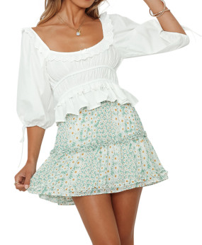 R.Vivimos Womens Summer Cotton Puff Shorts Square Neckline Ruffle Peplum Crop Blouse Top