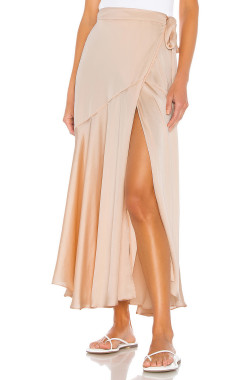 R.Vivimos Women's Satin Skirt High Waist Split Side Sexy Party Wrap Tie Waist Flowy Maxi Skirt