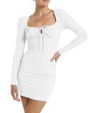R.Vivimos Women's Fall Long Sleeves V Neck Slim Fit Bodycon Pullover Knit Sweater Mini Dresses