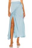 R.Vivimos Women's Satin Skirt High Waist Split Side Sexy Party Wrap Tie Waist Flowy Maxi Skirt