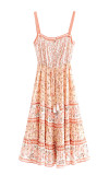 R.Vivimos Womens Summer Cotton Straps Button Up Floral Print Casual Boho Frills Midi Dress