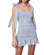 R.Vivimos Women's Summer Cotton Striped Sleeveless Ruched Elastic Ruffled Strap Boho Mini Dresses