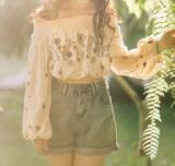 R.Vivimos Women's Linen Long Sleeve Off Shoulder Floral Embroidery Boho Crop Top Blouse