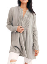 R.Vivimos Women's Tunic Dress Fall Linen Button Down Long Sleeves Casual Mini Shirt Dress