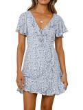 R.Vivimos Women's Summer Short Sleeves Cotton Floral Print Layered Ruffles Boho Mini Swing Dress
