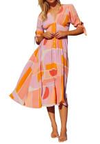 R.Vivimos Women Cotton Short Sleeves V-Neck Buttons A Line Summer Flowy Midi Dress