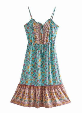 R.Vivimos Women's Summer Cotton Floral Print Spaghetti Straps V Neck Button Up Casual Boho Mini Dress