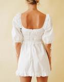 R.Vivimos Womens Summer Cotton Puff Sleeves Square Neckline Ruffle Casual Swing Mini Dress