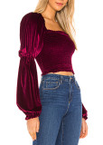 R.Vivimos Women's Fall Long Puff Sleeves Velvet Stretchy Ruched Crop Tops Blouses