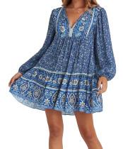 R.Vivimos Women's Cotton Long Sleeve Floral Print Ruffled Hem Casual Boho Flowy Tunic Dress