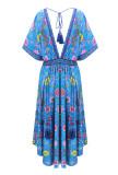 R.Vivimos Women Summer Print Deep V Neck Cotton Beach Midi Dresses