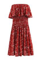 R.Vivimos Women's Summer Cotton Floral Print Boho Beach Strapless Ruffle Tube Top Dress