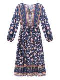 R.Vivimos Women's Long Sleeve Cotton V-Neck Button Up Floral Print Boho Flowy Midi Dresses