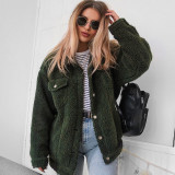 R.Vivimos Womens Winter Coat Lapel Fleece Fuzzy Teddi Faux Shearling Warm Outerwear Jackets