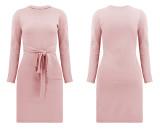 R.Vivimos Women's Winter Cotton Long Sleeves Elegant Tie Waist Ribbed Knit Bodycon Sweater Dress
