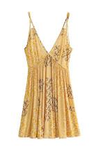 R.Vivimos Women's Summer Cotton Spaghetti Straps Floral Print Boho Beach V Neck Mini Dress