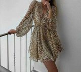 R.Vivimos Women's Long Sleeves Chiffon Casual V-Neck Button Down Ruffled Leopard Print Mini Dress