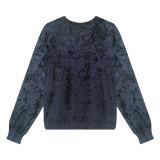 R.Vivimos Women's Crushed Velvet Long Sleeve Crewneck Plus Size Casual T Shirts Sweatshirts