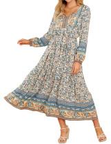 R.Vivimos Women's Cotton Long Sleeves Floral Print V-Neck Casual Boho Flowy Midi Dress