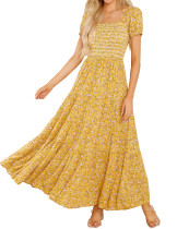 R.Vivimos Women's Summer Cotton Puff Sleeves Floral Print Square Neckline Boho Flowy Midi Dress