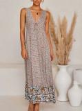 R.Vivimos Women's Summer Cotton Deep V-Neck Sleeveless Floral Print Ruffled Boho Midi Dress
